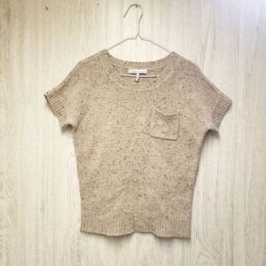 French Connection Beige Knit Short Sleeve Sweater